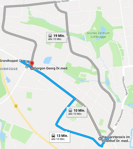 Route zu Dr. Gorgon per Bus
