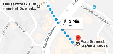 Route zu Dr. Kavka zu Fuß