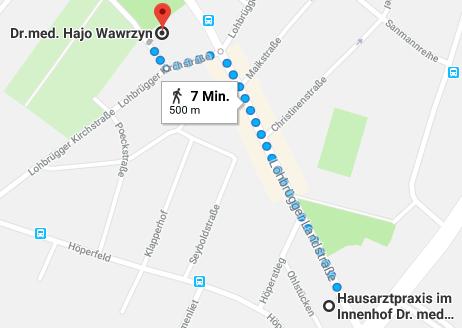 Route zu Dr. Wawrzyn zu Fuss