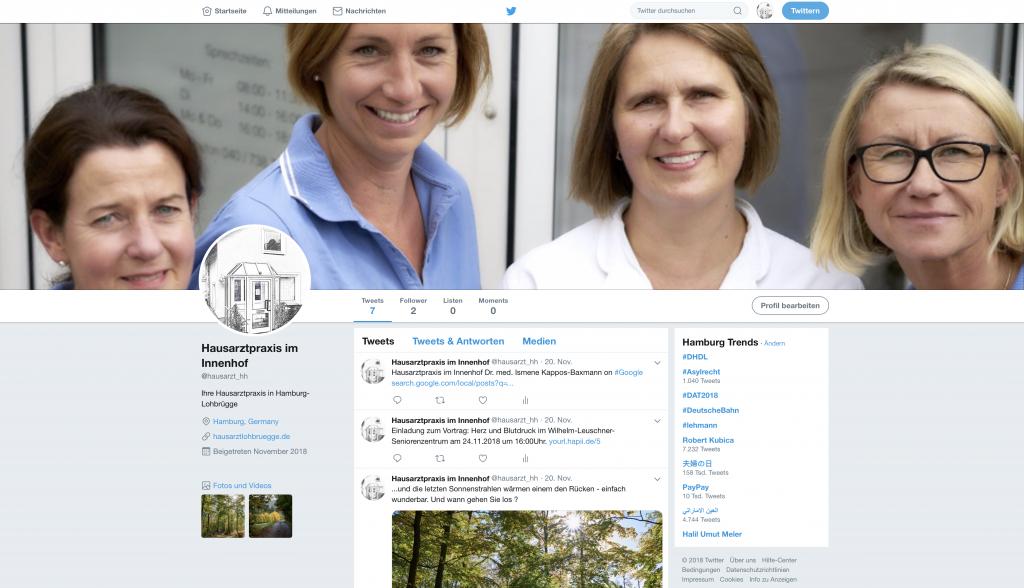 Ab sofort finden Sie die Hausarztpraxis im Innenhof auch auf Twitter