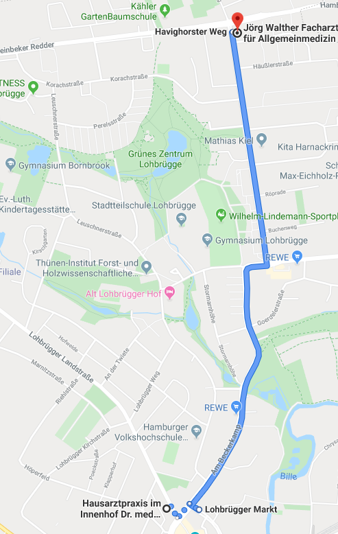 Route zu Dr. Walther per Bus