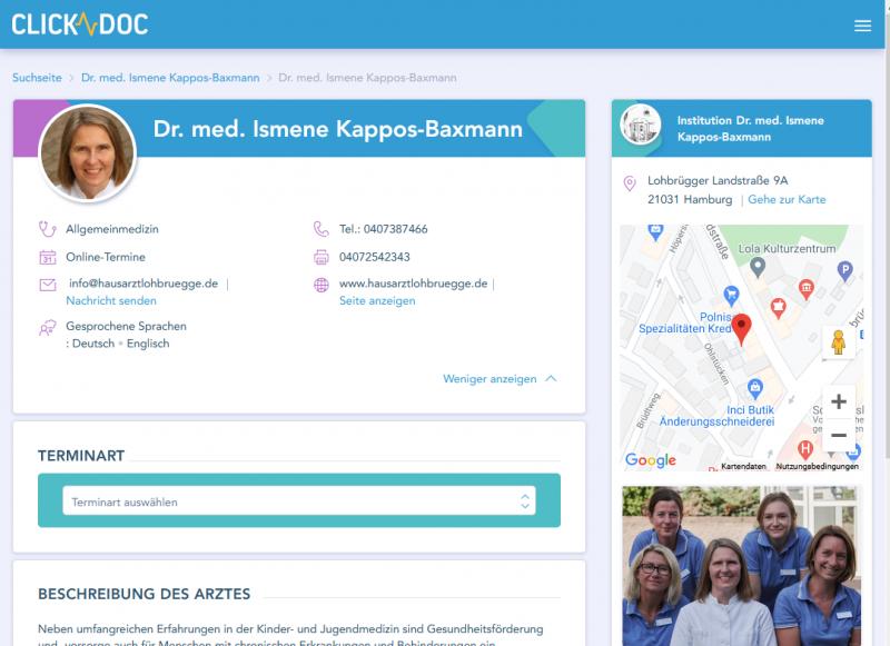 Clickdoc Auftritt der Hausarztpraxis im Innenhof